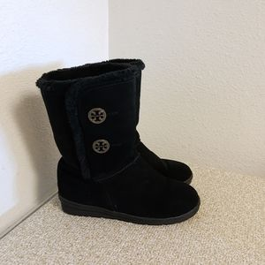 Tory Burch Black Suede Hematite Boots